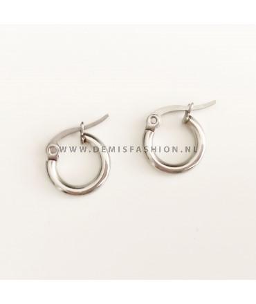 Zilverkleurige ringetjes oorbellen 10mm