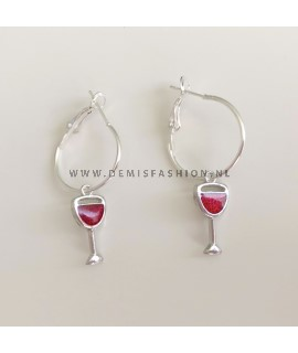 Zilveren rode wijn oorbellen