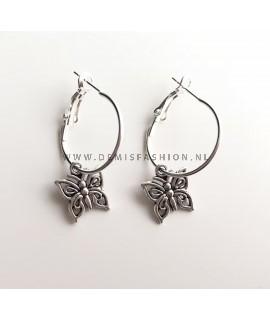 Zilveren vlinder oorbellen Loiza