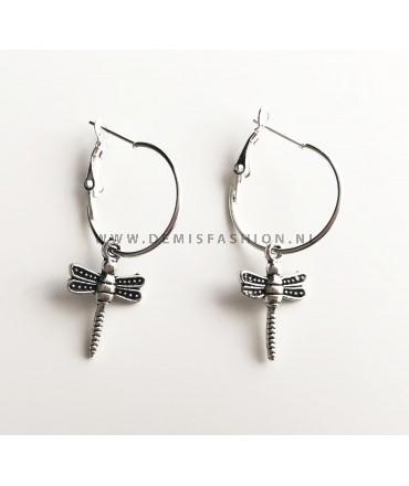 Zilveren libelle oorbellen