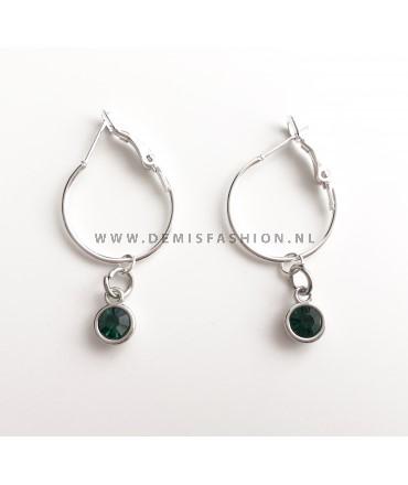 Zilveren groene steen oorbellen Roos