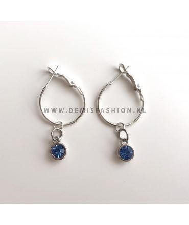 Zilveren blauwe steen oorbellen Roos