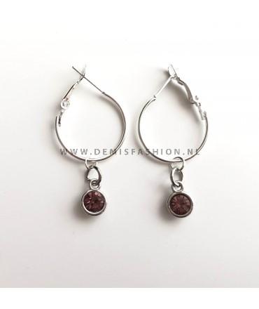 Zilveren donker roze steen oorbellen Roos