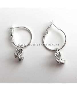 Zilveren zwaan oorbellen