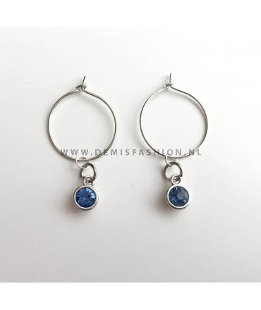 Zilverkleurige blauwe steen oorbellen Roos