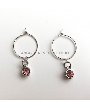Zilverkleurige licht roze steen oorbellen Roos