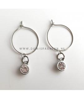 Zilverkleurige steen oorbellen