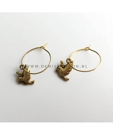 Goudkleurige vogel oorbellen Aniek