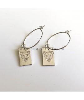 Zilverkleurige luipaard oorbellen Mirte