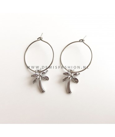 Zilverkleurige palmboom oorbellen