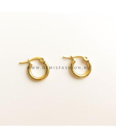 Goudkleurige ringetjes oorbellen 10mm