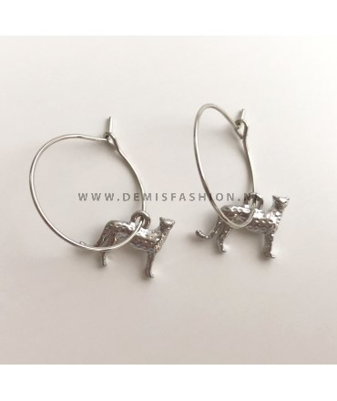 Zilverkleurige luipaard oorbellen Elias