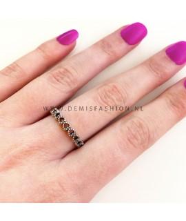 Zilveren hartjes ring Julia