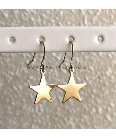 Ster hanger oorbellen goudkleurig