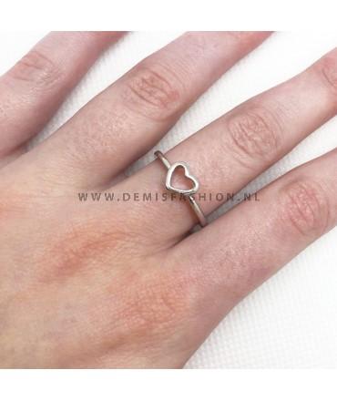 Zilverkleurige hartjes ring