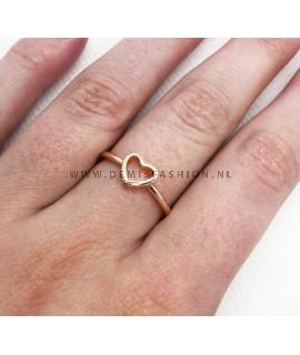 Rosé hartjes ring