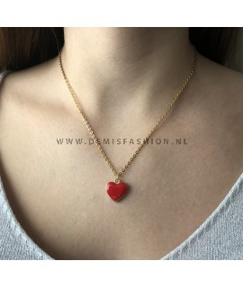 Rood hart ketting