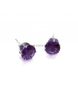 Knopjes oorbellen paars