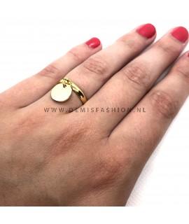 Goudkleurige ring met munt bedel