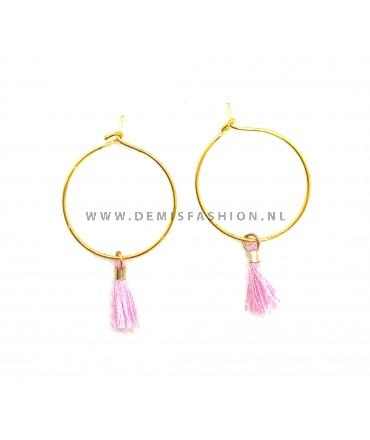 Kwastjes oorbellen roze Koos