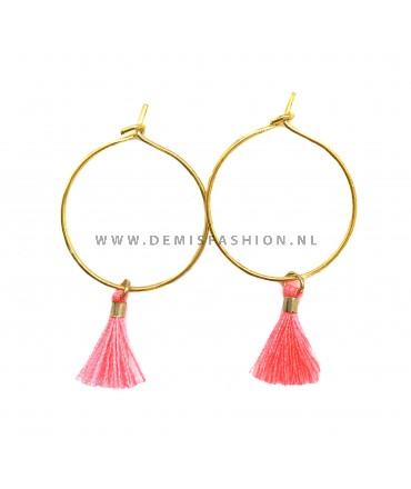Kwastjes oorbellen Neon roze