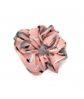 Flamingo scrunchie roze