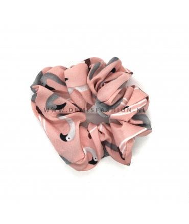 Flamingo scrunchie roze