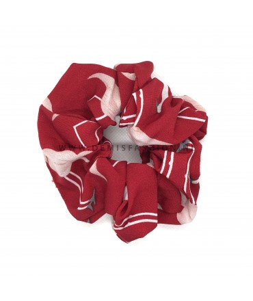 Flamingo scrunchie rood