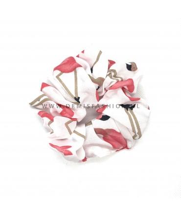 Flamingo scrunchie wit
