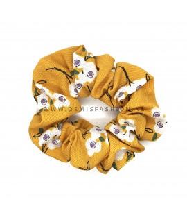 Bloemen scrunchie geel