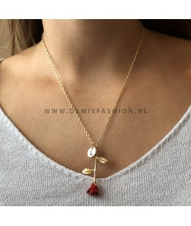 Rode roos ketting letter L