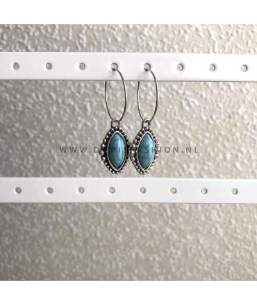 Blauwe marmeren oorbellen