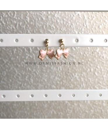 Roze strikjes oorbellen