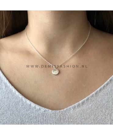 Zilveren initialen ketting D