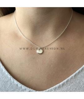 Zilveren initialen ketting F