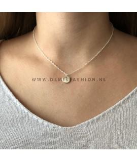 Zilveren initialen ketting H