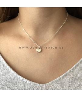 Zilveren initialen ketting N