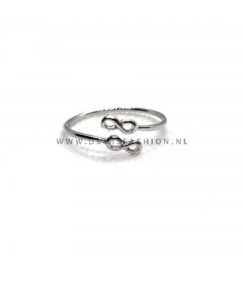 Zilverkleurige infinity ring