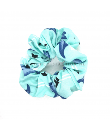 Flamingo scrunchie blauw