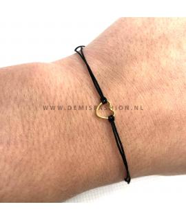 Zwarte hartjes armband
