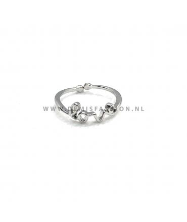 Zilverkleurige love ring