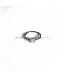 Zilverkleurige ronde maan ring Dani