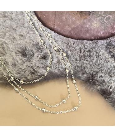 Zilverkleurige bolletjes ketting Kunza