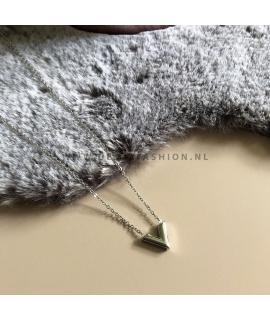 Zilverkleurige V ketting