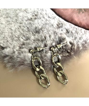 Zilverkleurige chain oorbellen Emily
