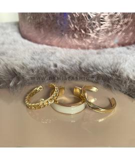 Goudkleurige witte ring Sem