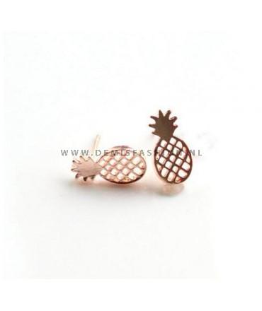 Rosé ananas oorbellen