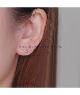 Rosé driehoek oorbellen small