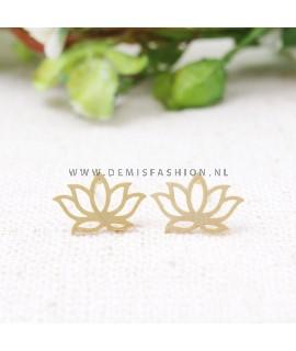 Goudkleurige lotus oorbellen