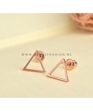 Rosé driehoek oorbellen Sophie